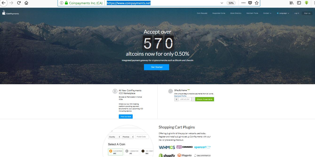 صفحه اصلی سایت coinpayment