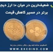 ریپل، ضعیفترین ارز در میان 10 ارز دیجیتال برتر در مسیر کاهش قیمت